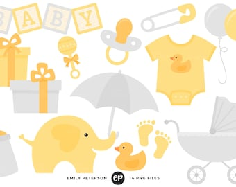 50% OFF SALE! Baby Shower Clip Art, Neutral Baby Clipart, Nursery Clip Art - Commercial Use, Instant Download - V3