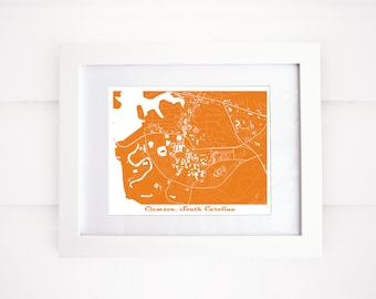 Clemson Map! Clemson, South Carolina, More Colors Available!