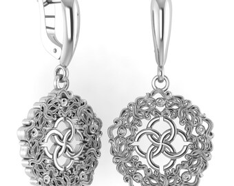 "Earrings ""Abundance waves with the wedding symbol"". Sterling Silver"