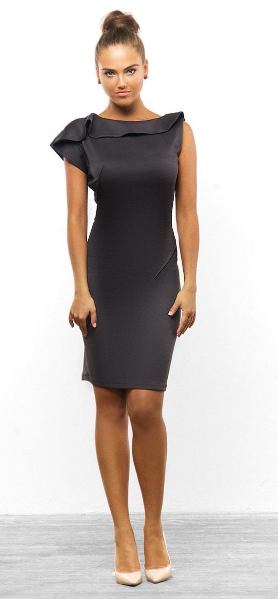 Schwarzes Kleid Knie Herbst schwarz Kleid Frühling Kleid