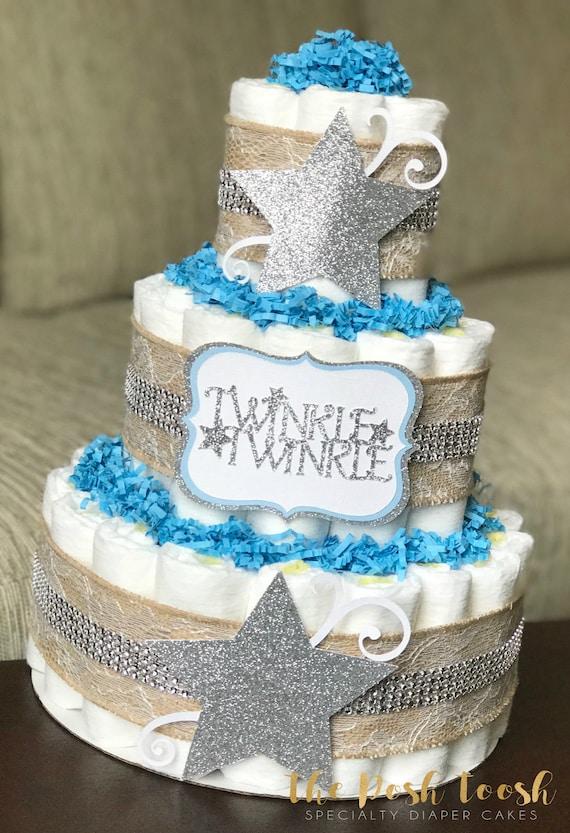 Twinkle Twinkle Little Star Diaper Cake Burlap Lace Blue