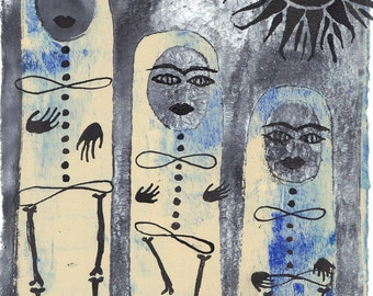 "blue women monoprint skeleton women art three women art blue cream art cream grey art original art wall art black sun ""move"""