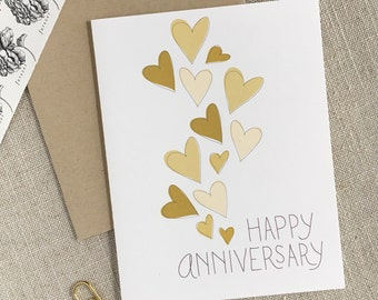 Hearts Happy Anniversary Card / Hand Drawn Modern Anniversary Card