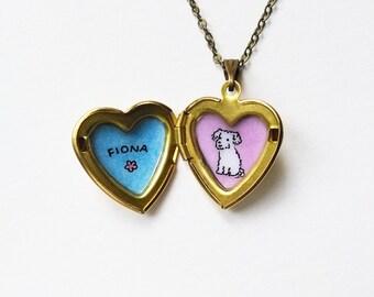 Custom Portrait Necklace - Pet + Name - Pet Memorial Jewelry - Custom Pet Portrait Heart Locket Pendant - Personalized Gift for Pet Lovers