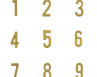"""Numbers Iron on Patch  2"""" 100% Embroidered Metallic Gold Modern Applique 2"""" tall by approx 1"""" wide for personalizing projects"""