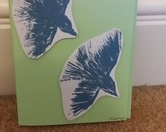 Handmade Greetings Card of 2 Light Blue Birds in Flight