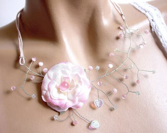 Pink necklace branch floral