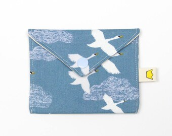 Swan mini snap pouch, blue coin purse, notions pouch, credit card storage, gift for knitter