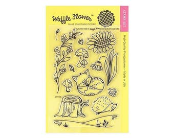 Waffle Flower AUTUMN TIME 4x6 - Set of 12 CLEAR Photopolymer stamps Fox Hedgehog Flowers #271156