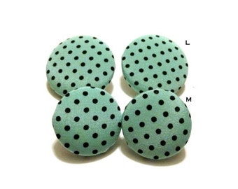 Mint Dot Fabric Covered Button Earrings