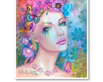 Signed 8 x 10 Print Gaia's Child Art Pink Nouveau Goddess Diva Mother Nature B. K . Lusk