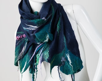 Shawl With Flowers / Nuno Felting / Handmade Felted Scarf / Merino Wool / Wrap / Nuno Felt / Ready To Ship.