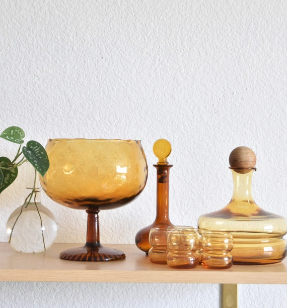 footed mid century hand blown brandy amber glass goblet bowl | brandy snifter