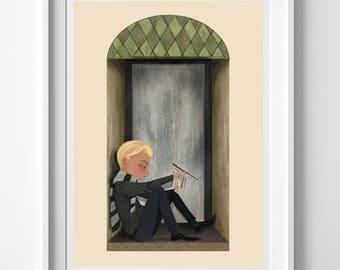 Draco Malfoy / Slytherin / Harry Potter Merchandise / Slytherin / Slytherin House / Hogwarts / 5x7 Harry Potter Illustration