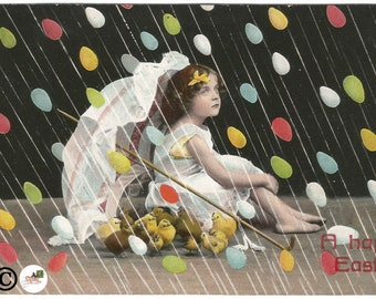 """Little Victorian Girl with Parasol and Baby Chicks Raining Easter Eggs """"A Happy Easter"""" Unique Vintage Postcard"""