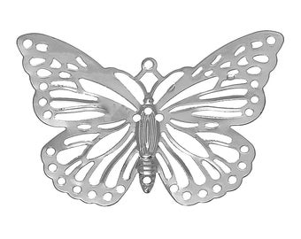 Set of 10 prints SC66702 38x26mm silver steel Butterfly charm
