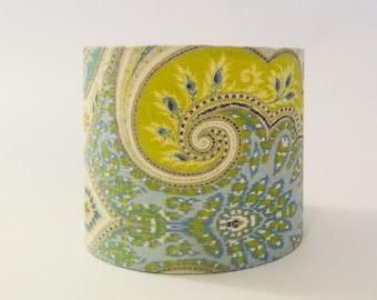 Green paisley lampshade, green and blue lampshade, colorful lampshade, custom lampshade, drum shade