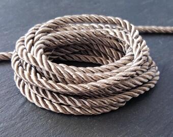 3.5mm Antique Beige Twisted Rayon Satin Rope Silk Braid Cord - 3 Ply Twist - 1 meters - 1.09 Yards - No:17