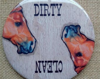 Dishwasher Magnet, Dirty or Clean, Big 3.5-Inch, Western Theme, Horse Heads, From Original Art