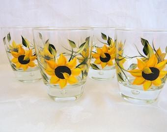 Sunflowers, Sunflower glasses, juice glasses, beverage glasses, cocktail glasses, painted sunflower glasses, drinking glasses