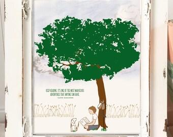 Boys Reading Art Print, Boy and Dog, Reading Art Print, Boys Art Print, Reading Artwork