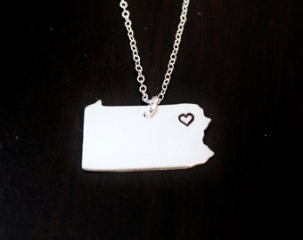 Pennsylvania State Necklace, City State Necklace, PA Necklace, State Jewelry