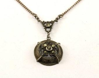 Vintage Flower Design Marcasite Pendant Necklace 925 Sterling Silver NC 1043
