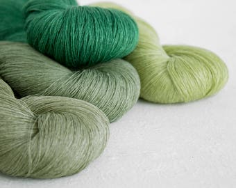 Linen yarn, Set of 4 linen skeins - green mix linen tread