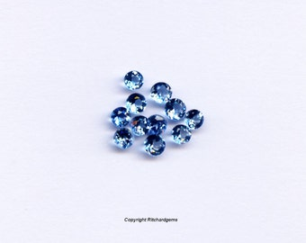 Natural Semi Precious Loose 3mm Faceted Round Cut London Topaz For Two