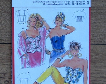 burda sewing pattern 6160 misses bustier top sz 8-10-12-14-16-18-20 good used condition cut on sz 20/46 close fitting boning  front closure