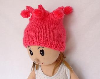 Hand knitted different children hat,Pink hat,octopus hat ,Handknit beret.
