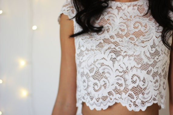 BRIDAL LACE TOP, cap sleeve lace crop top, bridal separates, lace wedding top, two piece alternative wedding dress, sheer crop top for bride