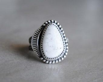 SIZE 6.5-6.75, White Buffalo Ring, White Buffalo Jewelry