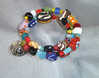 Memory Wire Bracelet, Tea Time - Bright Multicolor with Teapot, Teacup, Donut, and Croissant Beads