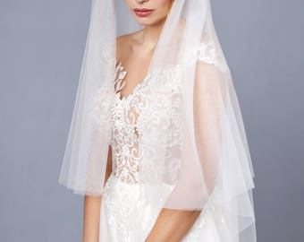 Juliet Cap Veil with headpiece Sheer Soft Juliet Wedding Bridal Veil Double Layer Two tier veil with headband, veil with headpiece crystals
