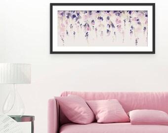 Floral Art Print. Flower Print. Flower Painting. Floral Painting. Wisteria Print. Wall Art. Wall Decor