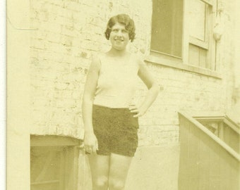 1931 Nobody But Me Young Woman Wearing Short Shorts Flapper 30s Vintage Photograph Black White Sepia Photo
