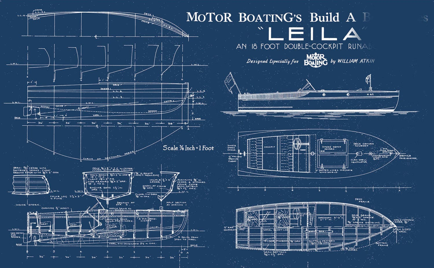 Print of vintage leila boat blueprint from motor boatings build a print of vintage leila boat blueprint from motor boatings build a boat series on your choice of matte paper photo paper or canvas malvernweather Choice Image