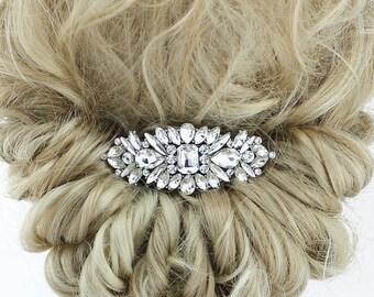 Rhinestone Bridal Comb, Silver Crystal Wedding Hair Accessories, Vintage Bridal Hair Piece, Glam Wedding Hair Clip, Statement Bridal Comb