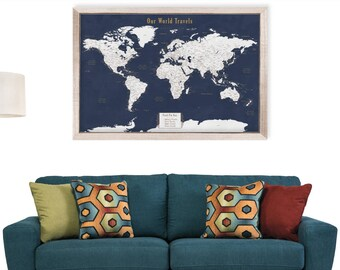Unique Anniversary Gift for Men World Map Gifts for Him Push Pin World Map Framed Travel Map with Push Pins Travel Art Map World Explore Map