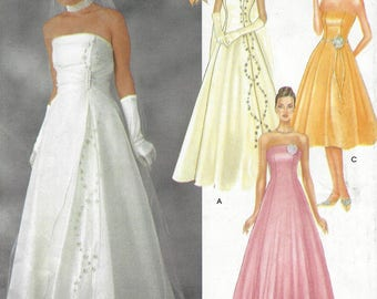 Womens Glamorous Wedding Gown Strapless Princess Seams with Overdress Simplicity Sewing Pattern 7068 Size 6 8 10 12 Bust 30 1/2 to 34 FF