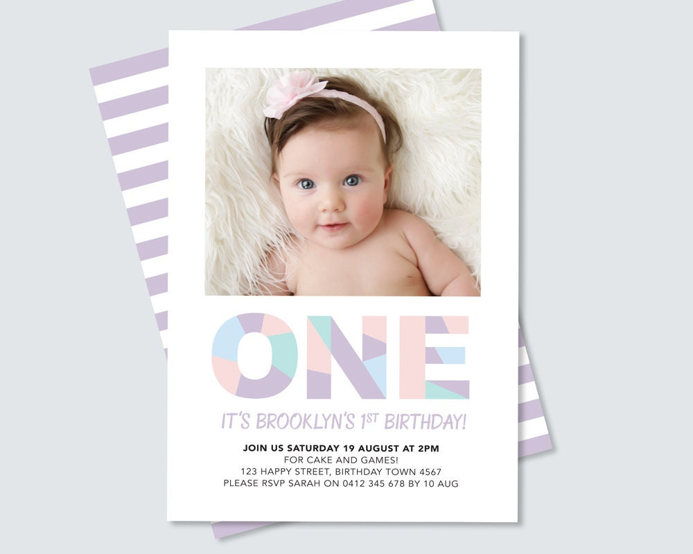 Rainbow 1st birthday invitation for girls // first birthday party ...