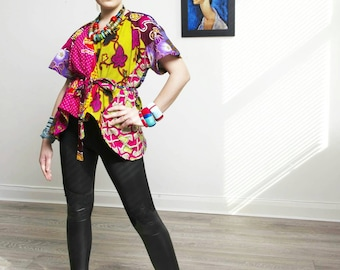 Ladi Pink Wrap top Ankara blouse African Clothing African Print Top African Fashion African Top African Blouse Ankara