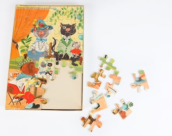 Vintage puzzle-the painting one dog and two cats
