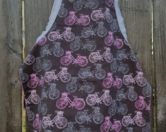 Vintage Bicycle Apron,Toddler Apron,Kids Apron,Kids Arts and Crafts,Reversible Apron,Kids Gift Under 20,Vintage Bicycles,Little Girls Apron