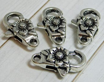 2 or 4pcs - 24x13mm - Large Lobster Clasp - Silver Lobster Clasp - Lobster Claw Clasp - Antique Silver Clasp - Flower Lobster Clasp - (B764)
