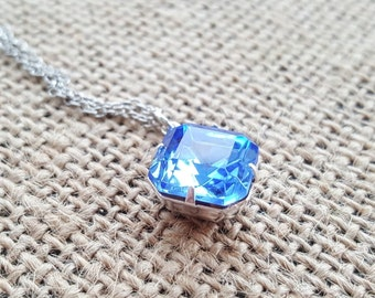 Sapphire Blue Swarovski Cushion Cut Bridesmaid Necklace - Sterling Silver Setting - Blue Glass Crystal Necklace - Estate Necklace - Wedding