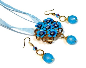 Sky Blue Flower Necklace Earring Set,  Repurposed Vintage, Jewelry Set, Blue Prom Necklace Set, For Prom
