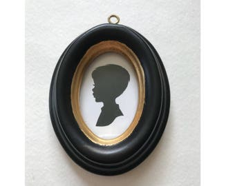 Custom Silhouette Christmas Ornament in Real Vintage Wood Oval Frame