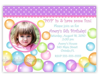 Blowing Bubbles Birthday Photo Card  Invitation (Digital File)